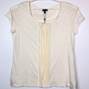 Talbots Woman Ivory  Blouse Short Sleeveless Sz L